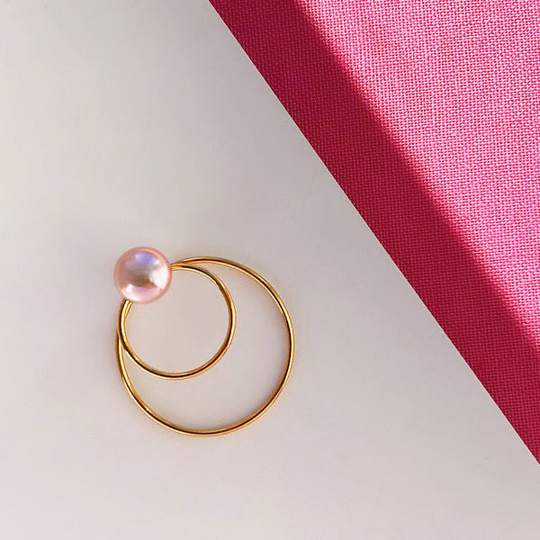 ByFossdal Double Circle w. Pearl Ørering / Guld