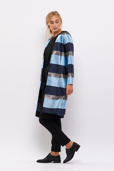 Second Arrival Wrinkled Lily Cardigan / Blue stripes