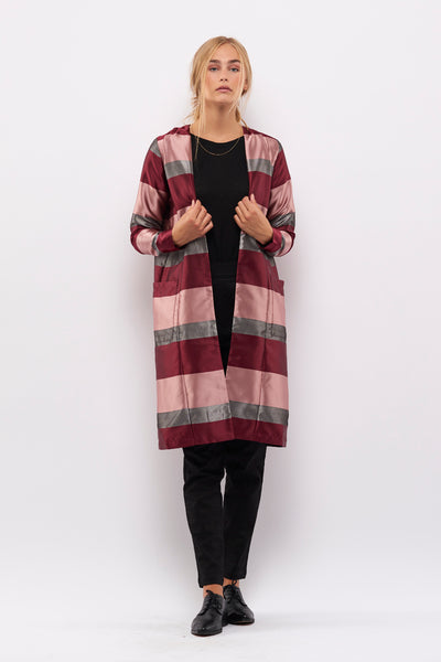 Second Arrival Wrinkled Lily Cardigan / Rose stripes
