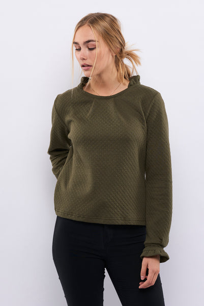 Second Arrival Flower Neck Sweater / Green Patting