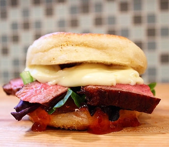 STEAK SANDWICH WITH CAMEMBERT AND RED PEPPER JELLY