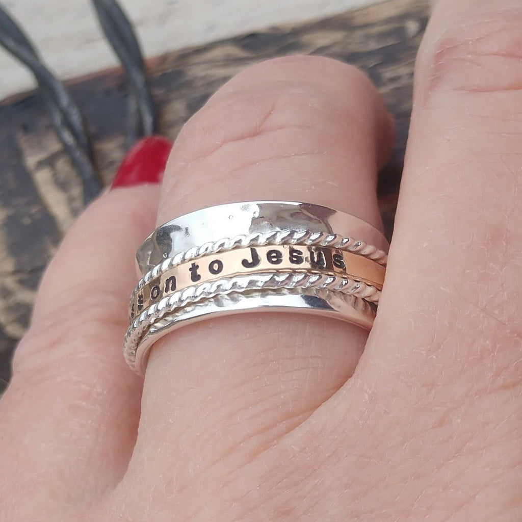 Personalized Spinner Ring | Three Spinning Rings | Silver Gold Rose Gold