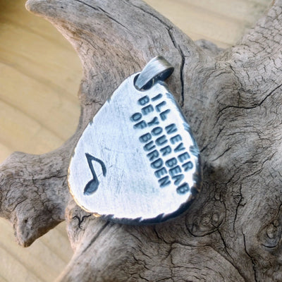 Mens Guitar Pick Pendant | Personalized Pendant | Sterling Silver - Ella Joli