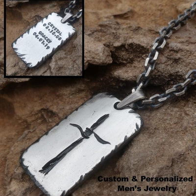 Rustic Silver Cross Necklace | Personalized Necklace | Mens Pendant - Ella Joli