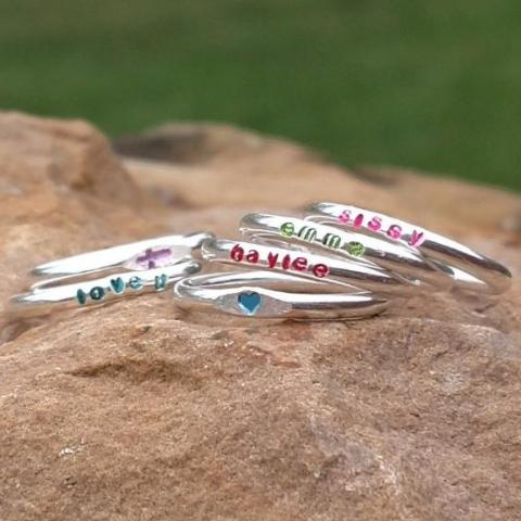 Image of Colored name rings for girls personalized stacking rings sterling silver red blue pink purple green black