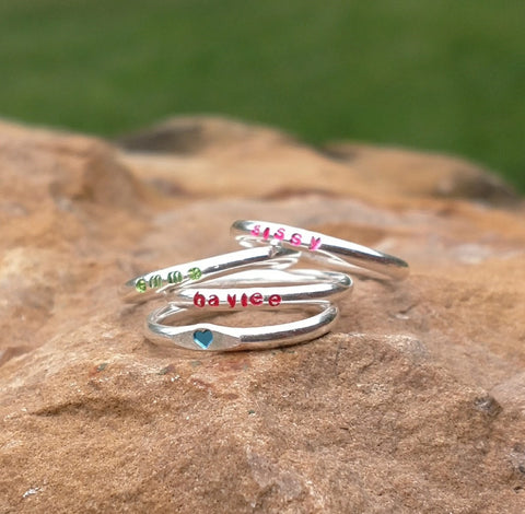 Girls Personalized Name Ring | Sterling Silver Stacking Rings | Colors - Ella Joli