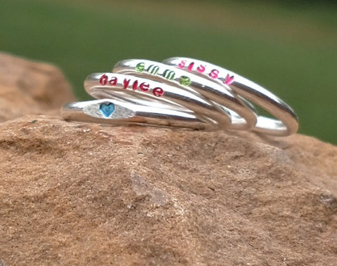 Girls Personalized Name Ring | Sterling Silver Stacking Rings | Colors