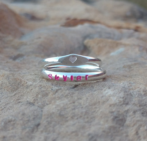 Image of Girls Personalized Name Ring | Sterling Silver Stacking Rings | Colors