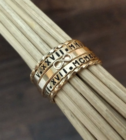 Custom Dainty Stackable Rings in Gold Rose Gold & Sterling Silver