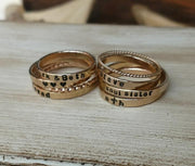 Dainty Stackable Rings | Gold Rose Gold Sterling Silver | Personalized - Ella Joli