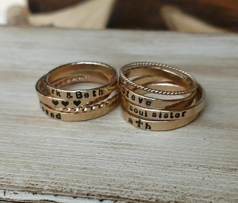 Image of Dainty Stackable Rings | Gold Rose Gold & Sterling Silver
