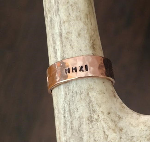 Image of Personalized Copper Ring | Unisex Name Ring | Wide Band