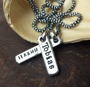 Mens Personalized Sterling Silver Vertical Bar Pendant for Necklace