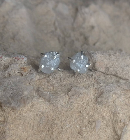 Raw Diamond Studs Earrings - Ella Joli