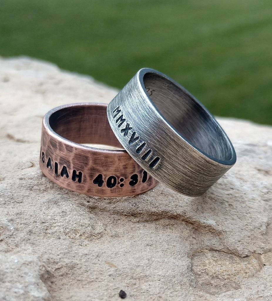 Mens Personalized Ring | Oxidized Sterling Silver Ring Wide 8mm Band