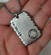 Mens Recovery Necklace | Sterling Silver Personalized AA or NA Pendant - Ella Joli