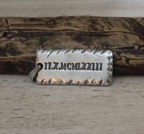 Mens Personalized Rectangle Pendant | Sterling Silver | Name Necklace