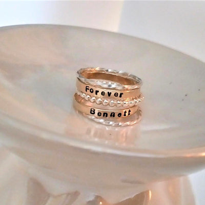 Personalized Stackable ring set in gold and silver or rose gold and silver