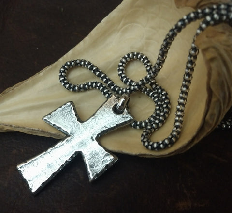 Image of Men's Cross Necklace-Old World/Medieval Style
