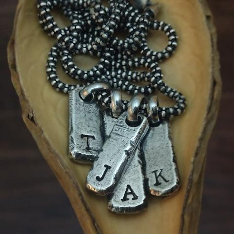 Image of initial necklace for men in sterling silver personalized bars up to four characters vertically or one initial horizontally