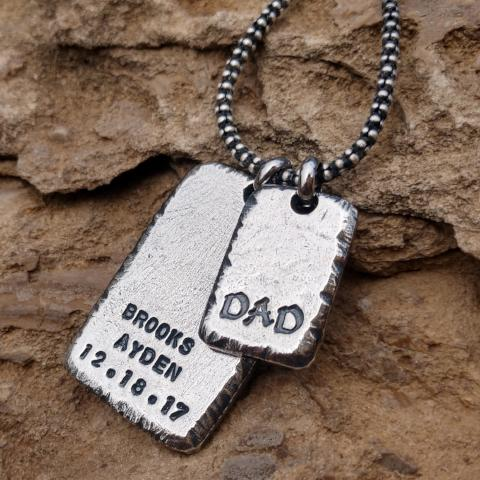 Image of Mens Personalized Necklace Dog Tag Necklace Sterling Silver Pendant for Him Gifts for Men Personalized Fathers Day Gift