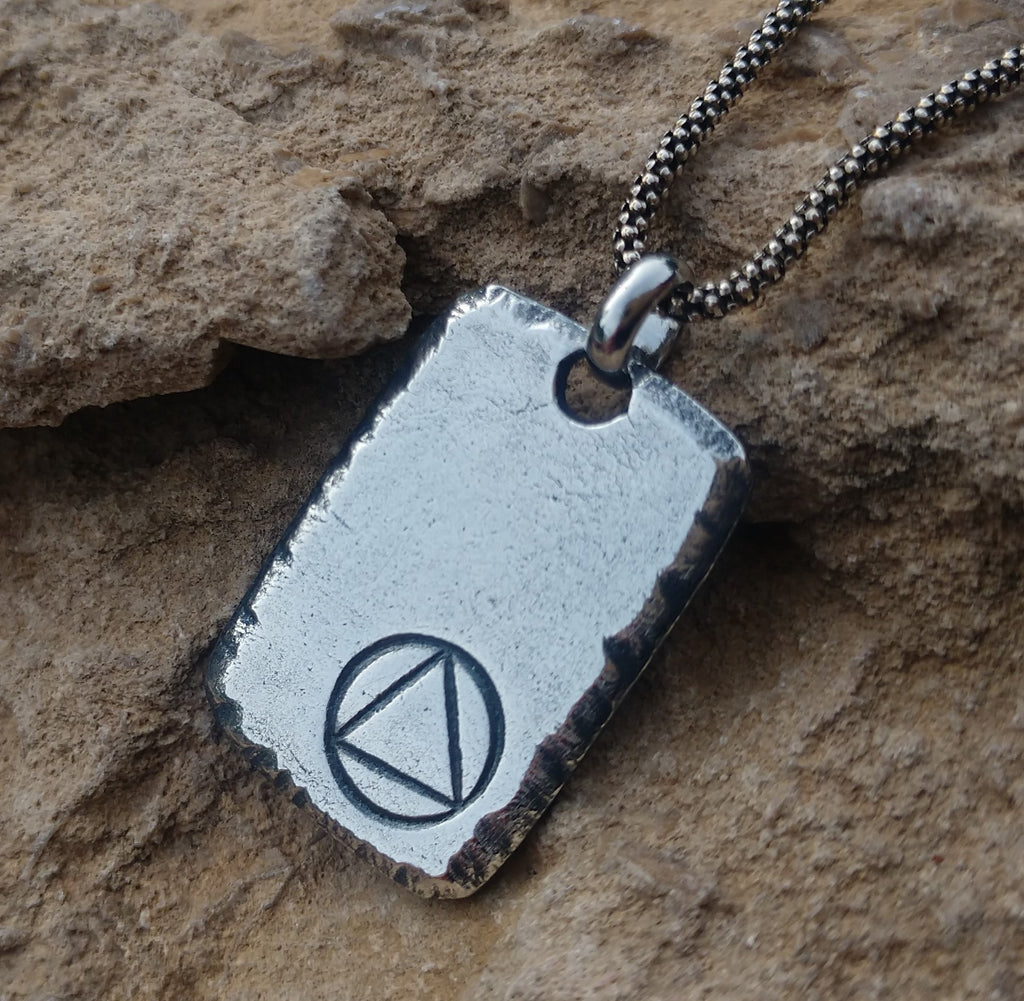 Mens recovery necklace sterling silver personalized with sobriety date thick chunky dog tag style rectangle pendant for him aa na