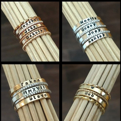 Image of personalized ring name rings sterling silver gold rose gold stacking rings stackable mothers rings