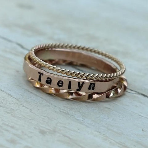 Personalized Stackable Ring Set | Gold Silver Rose Gold Stacking Rings