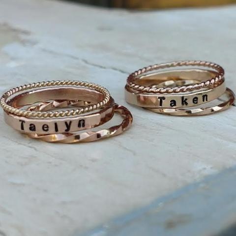 Image of personalized stacking rings in gold rose gold or sterling silver mothers stackable name rings personalized mothers day gifts