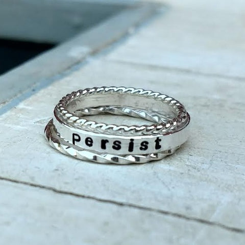 Image of Personalized Stackable Ring Set | Gold Silver Rose Gold Stacking Rings