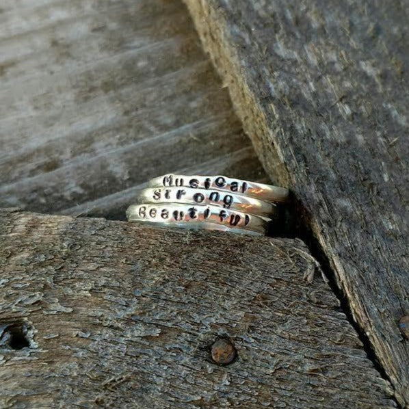 Round Personalized Stacking Ring | Sterling Silver Name Rings