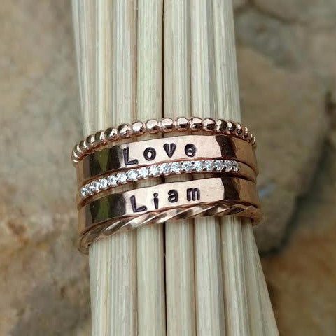 Custom Rose Gold Stackable Mother's Name Ring Set
