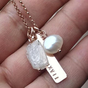 Personalized Bar Necklace with Rough Birthstones | Rose Gold Sterling Silver Gold - Ella Joli