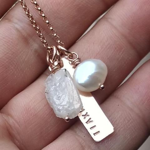 Image of personalized bar necklace with rough birthstones gemstone name necklace custom womens jewelry gift for her