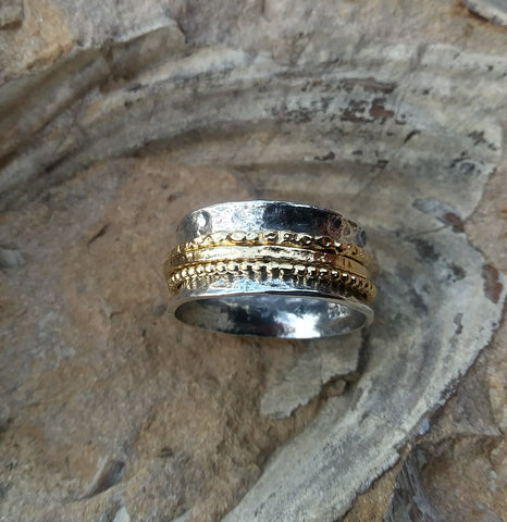 Image of Gold and Silver Meditation Spinner Ring