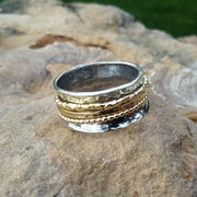 Gold and Silver Meditation Spinner Ring - Ella Joli