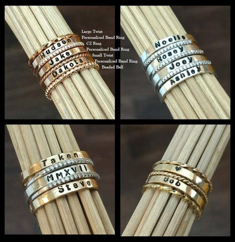 Stackable Rings | Mix & Match Rings | Personalized Mothers Ring Stack - Ella Joli