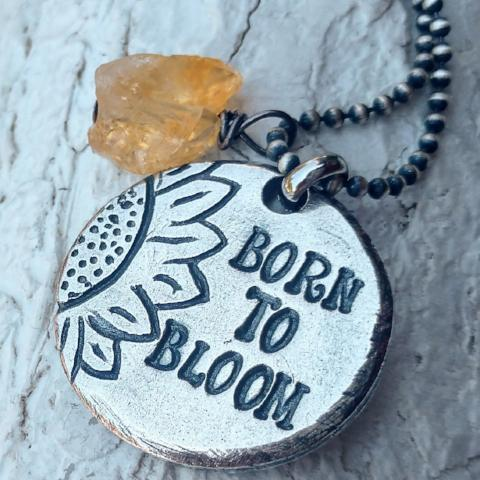 Born to Bloom Sunflower Medallion Necklace