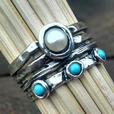 Turquoise and Pearl Split Band Ring - Ella Joli