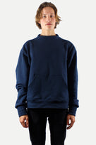 Navy Mock-Neck Pullover