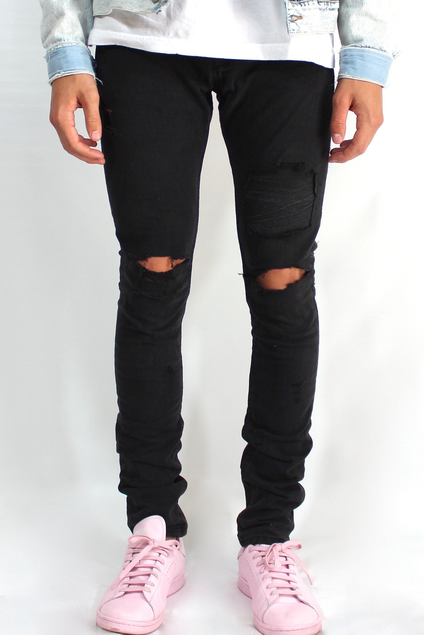 Distress Black Denim