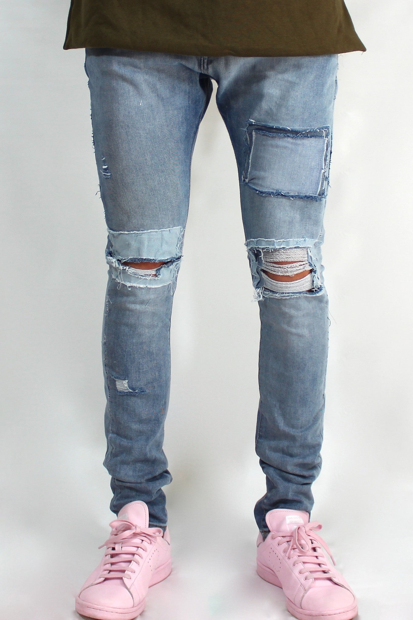 Distressed Light Wash Denim