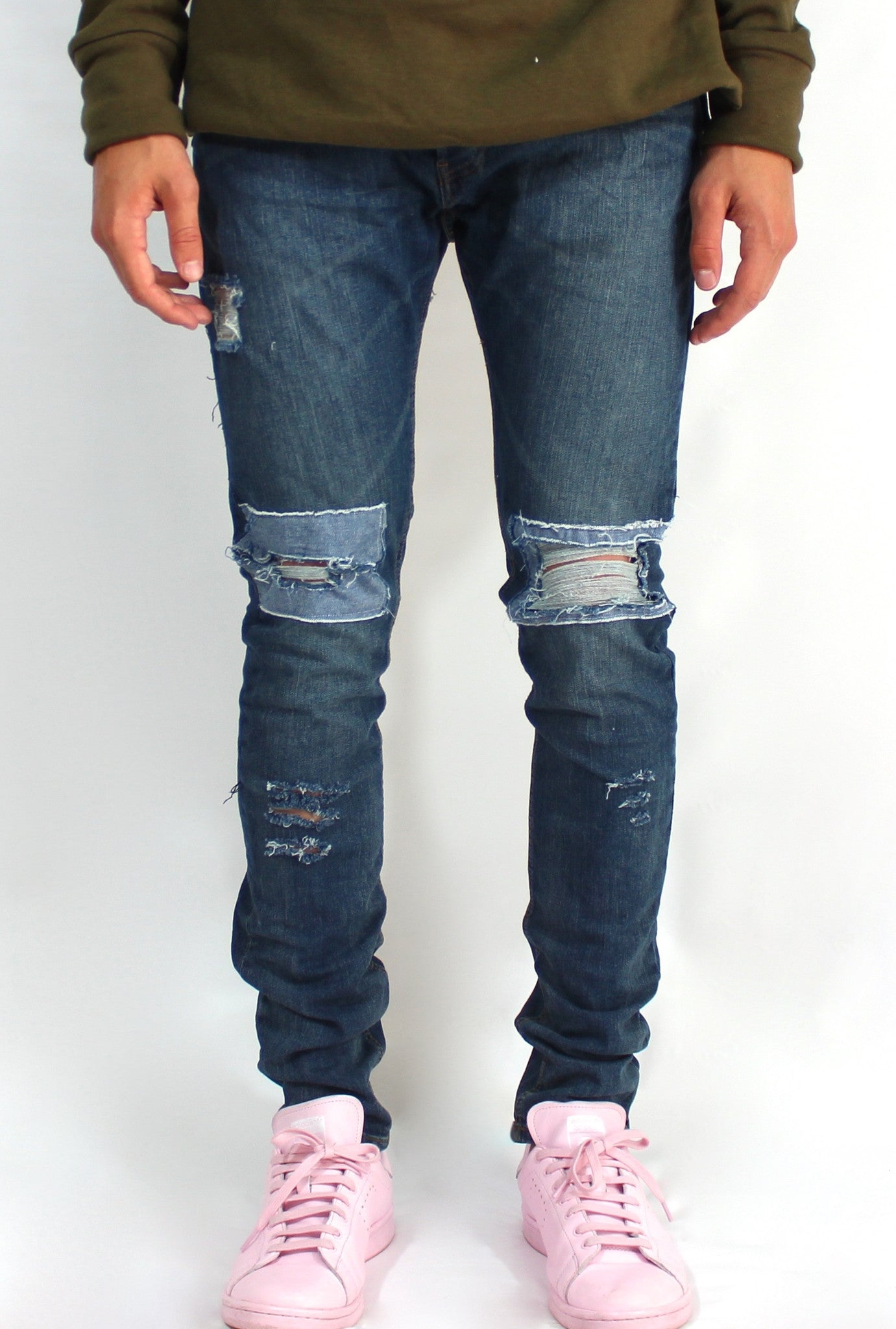 Distressed Dark Wash Denim