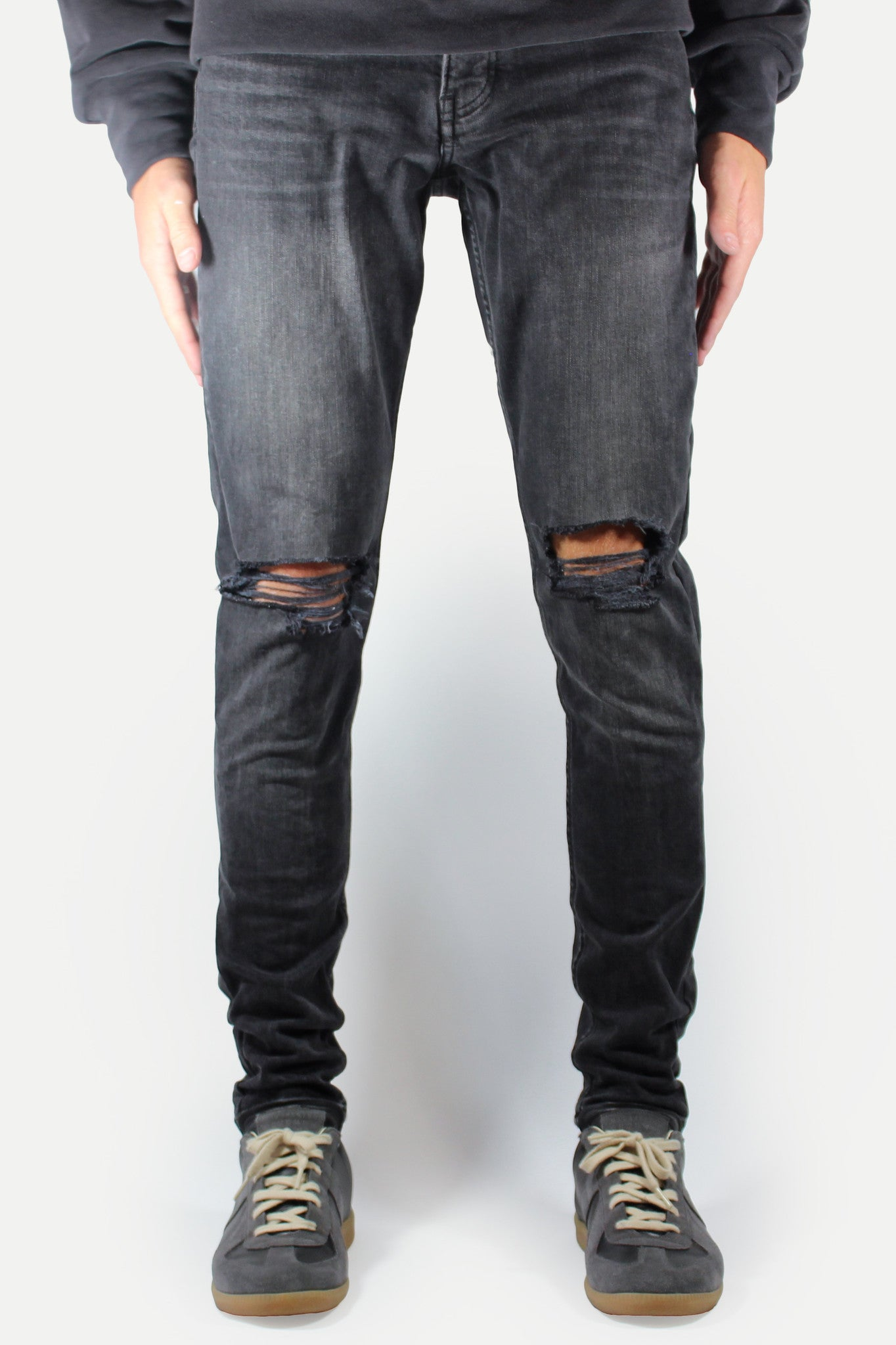 Black Wash Ripped Denim