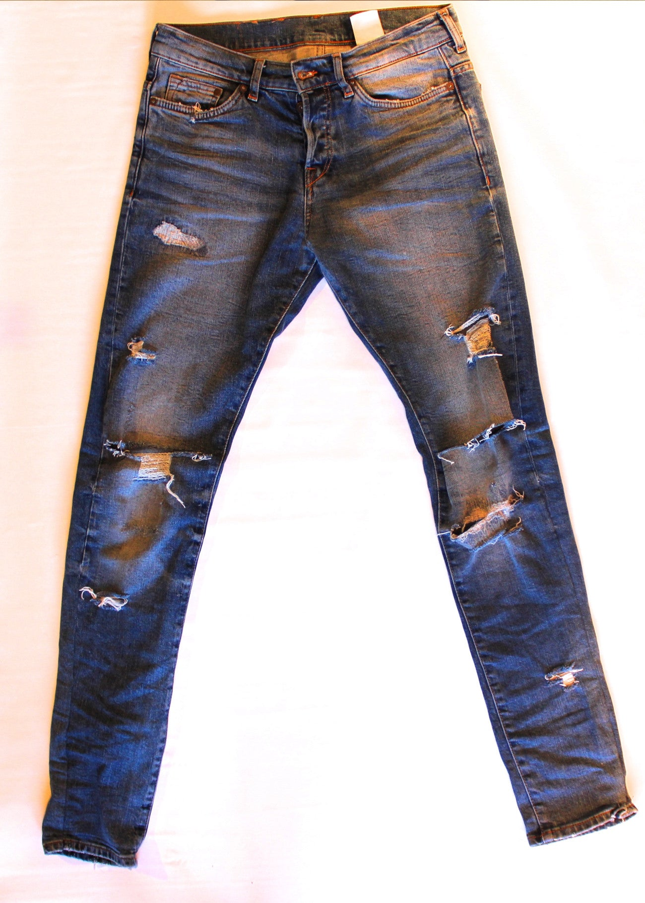 Distressed Tapered Denim