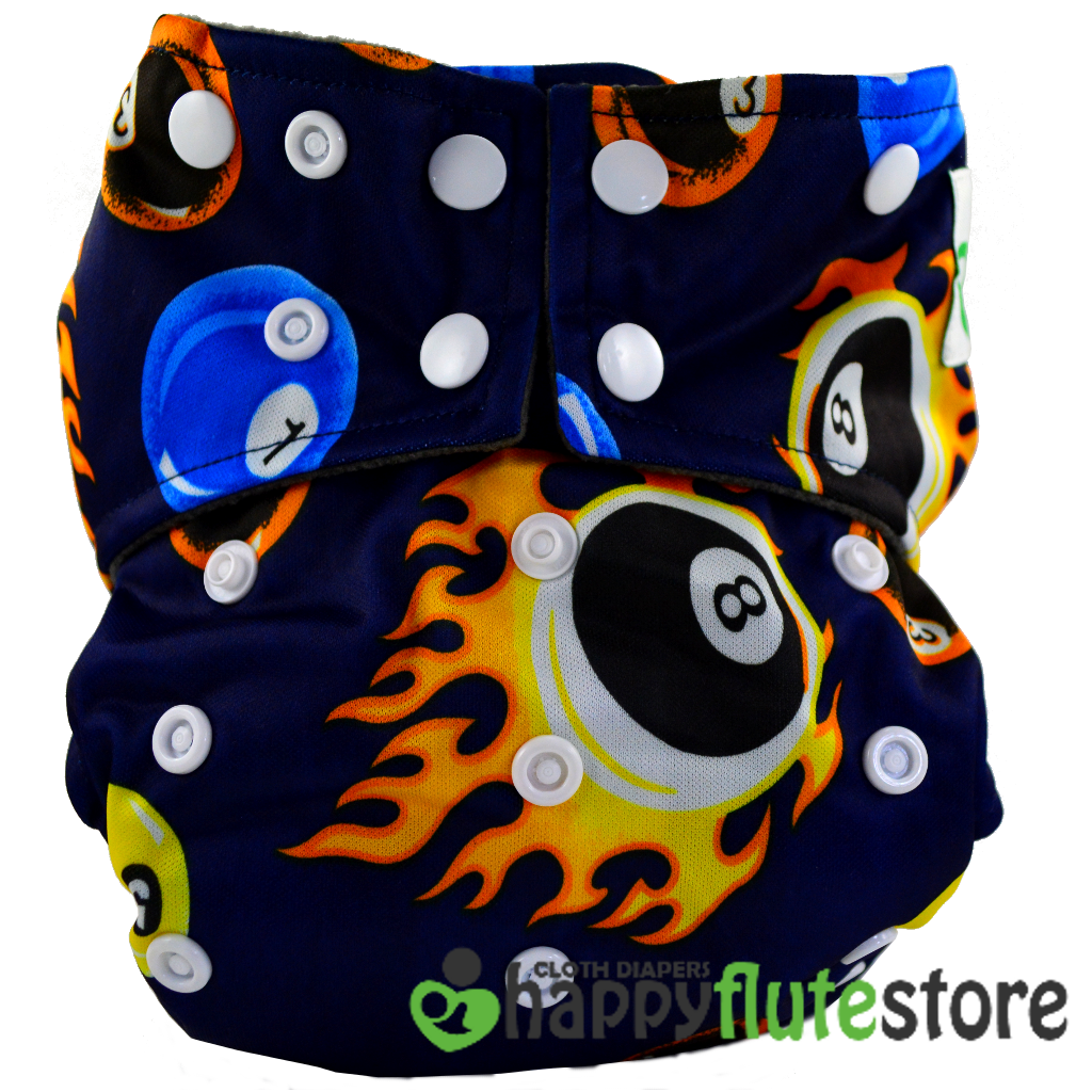 Happy Flute  All in One Charcoal Bamboo Cloth Diaper - 8 Ball
