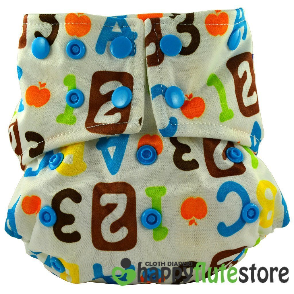 Happy Flute All in One Cotton Bamboo Cloth Diaper - ABC123