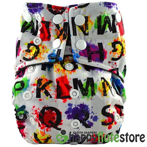 Happy Flute All in One Charcoal Bamboo Cloth Diaper - ABC Paint (front)