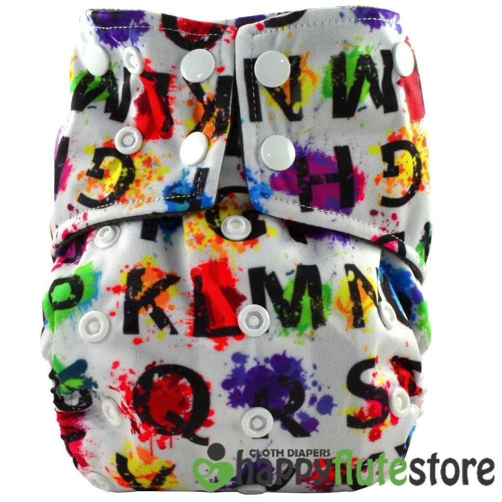 Happy Flute All in One Cotton Bamboo Cloth Diaper - ABC Paint