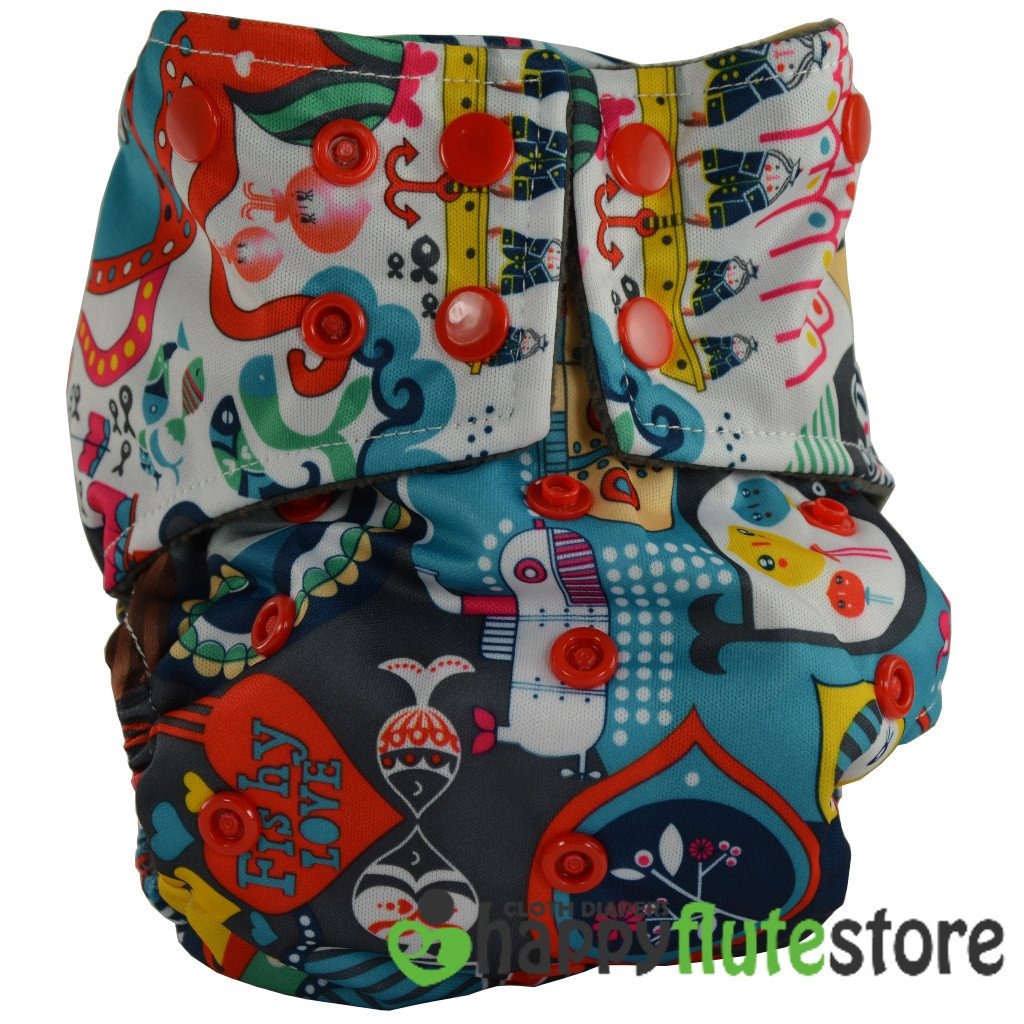 Happy Flute All in One Cotton Hemp Cloth Diaper - Ahoy